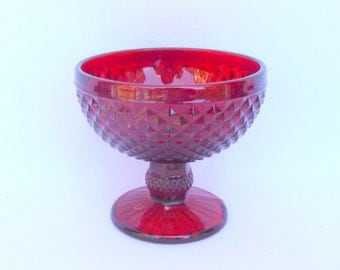 RED GLASS COMPOTE/ Candy Dish