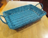 Vintage Woven Painted Tray Basket With Handles