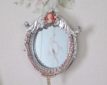 shabby chic miniature mirror glamour boudoir vanity mirror feminine bedroom decor