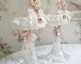 2 shabby chic lamps crystal boudoir lamps n shades lace lamp shades PAIR vanity lamps and shades
