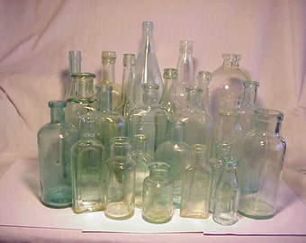 c1870s-1920s Group of 24 Cork Top Mixed Aqua Glass Medicine, Food and Beverage Bottles , Bottle Collection Great for Wedding Decor No. 2