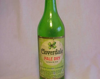 1930s Cloverdale Pale Dry Ginger Ale Cloverdale Spring Co. Newville, PA. , Green 16 Ounce Soda Bottle with paper label