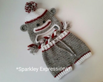 Crochet Sock Monkey Earflap Hat & Diaper Cover-Baby Photography Prop-Infant Monkey Set-Preemie Sock Monkey-Toddler Monkey-Baby Monkey Hat