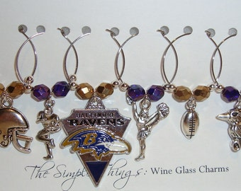Baltimore Ravens Wine Glass Charms