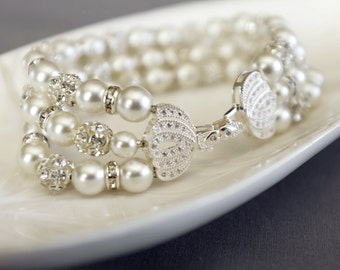 Bridal Pearl Rhinestone Bracelet Crystal Bracelet White Gold Filled Crystal Clasp Wedding Jewelry White or Ivory Pearl BL073LX