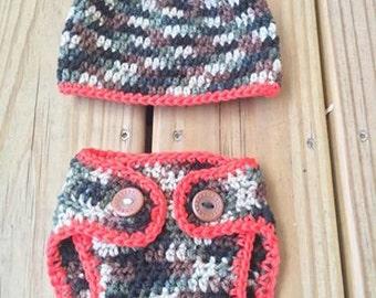 Camouflage baby set - Camouflage hat - Camouflage diaper cover - Camo hat - Camo diaper cover - camo infant set - free shipping - vegan set