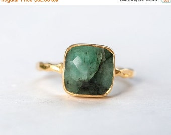 40 OFF - Raw Emerald Ring - May Birthstone Ring - Gemstone Ring - Stacking Ring - Gold Ring - Stacking Ring
