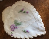 New old stock Handmade  Vintage set of 8 Madeira Embroidered Floral Organdy Linens