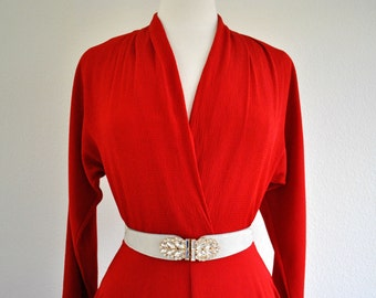 lady in red vintage 80s 90s rayon long sleeve red dress size 8