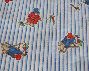 Vintage Paddington Bear Cotton Fabric, 1 and 1/2 Yards Plus