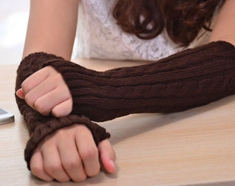 Brown knit arm warmers fingerless gloves