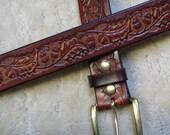 Embossed Leather Belt - B2E005 - Oak Leaves and Acorns