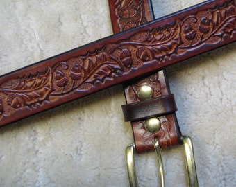 Embossed Leather Belt - B2E005 - Oak Leaves and Acorns