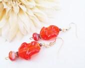 Lampwork Earrings, Orange Red Czech Glass Earrings, Bright Red Dangle Earrings, Vintage Glass Beaded Earrings, Artisan Handmade Jewelry