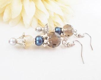 Pearl Earrings, Blue Gray Earrings, Quartz Earrings, Pewter Earrings, Sterling Silver, Clip On, Gypsy Earrings, Bohemian, Beaded Earrings