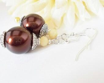 Chocolate Pearl Earrings, Renaissance Earrings, Bridal Earrings, Champagne Crystal Earrings, Dark Brown Pearl Earrings, Renaissance Earrings