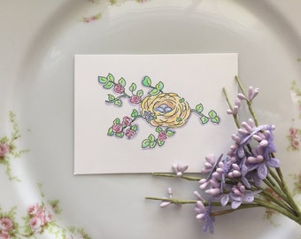 Bird Nest, Roses, Flowers, Branches, Feathers, Eggs, Garden, Cottage Garden, Cottage Chic, Hand Painted, ACEO, illustration, Watercolors
