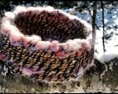 majickal.basket - cattail reed basket woven w purple wool yarn & mixed in shimmering merino wool roving