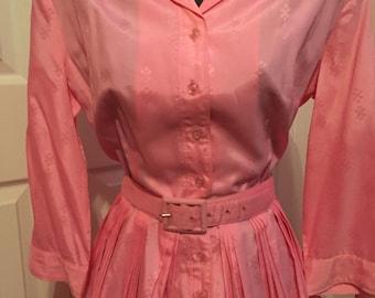 1960s Pink Shirt Waist Dress