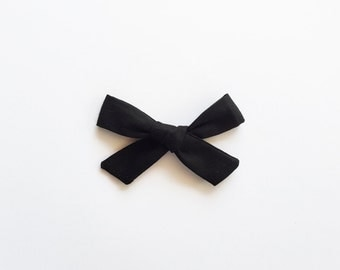 Black Hand Tied Hair Bow - Black School Girl Bow - Girls Fabric Bow