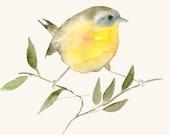 Bird Art Card Blank Greeting Card Golden Bird