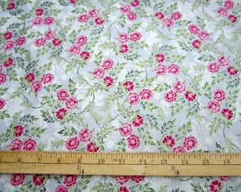 Jenny Jane Metallic Small Floral Dove/Silver premium cotton fabric from Hoffman Fabrics