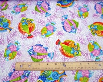 Jewels Of The Sea Whimsical Fish Lilac premium cotton fabric from Quilting Treasures
