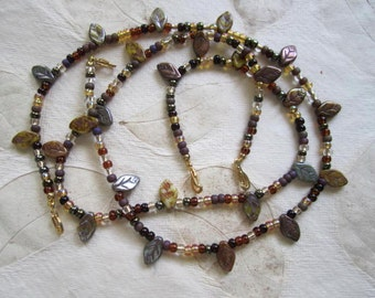 Shop Closing Sale, Topaz, Brown and Green Seed Bead Necklace with Leaves, Single, Multi Strand Interchangeable Necklace, Versatile, autumn