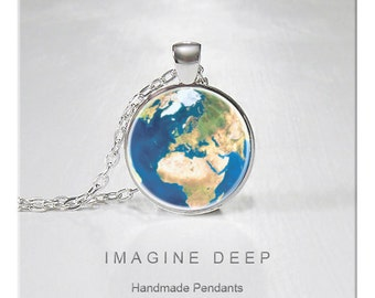 BUY 2 GET 1 FREE Earth Pendant Necklace Beautiful Blue Planet High Quality Handmade Silver Copper Pendant - Awesome Earth - Europe (138)