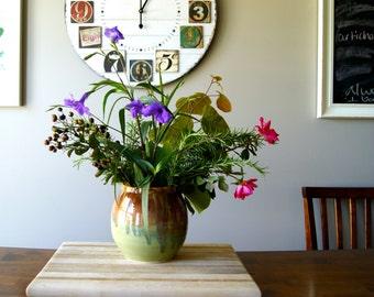 Flower Vase, Canister, Utensil Holder, Jar, Handmade Pottery Wheel Thrown, Green and Brown