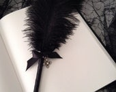 Black Ostrich Feather Pen with Silver Dangling Cross