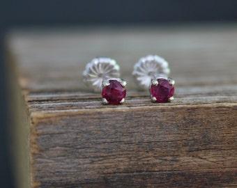 Genuine Ruby Stud Earrings, White Gold Ruby Gemstone Earrings, 14k Gold Posts, July Birthstone, Real Ruby Earrings, Ready to Ship