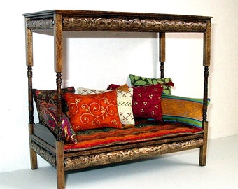 Canopy Daybed, Dollhouse Miniature, 1/12 Scale, Hand Made