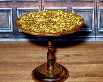 Gold Filigree Side Table, Dollhouse Miniature 1/12 Scale, Hand Made