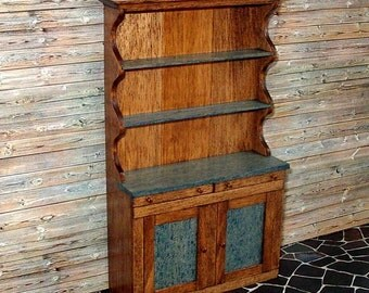 Country Style Hutch, Dollhouse Miniature 1/12 Scale, Handmade