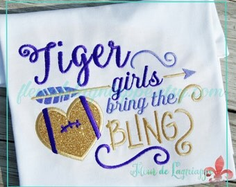 Tiger Girls Bring Bling Football T-shirt