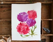 Floral 3. A signed, original watercolor painting.
