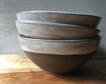 Stoneware Soup Bowls - Handmade Pottery Bowl Set - Ceramic Saad Bowl Set - Modern Rustic Ceramic Bowls - Salad Bowl Set of 3
