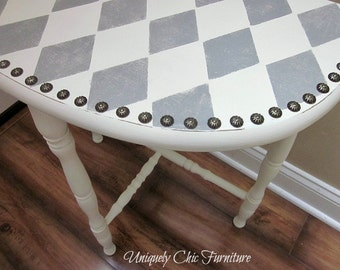 Harlequin Demi Lune Half Moon Accent Table~GRAY and WHITE