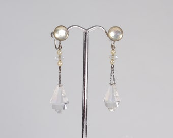 Vintage 1920s Art Deco Earrings - Geometric Rock Crystal Faux Pearl - Bridal Fashions