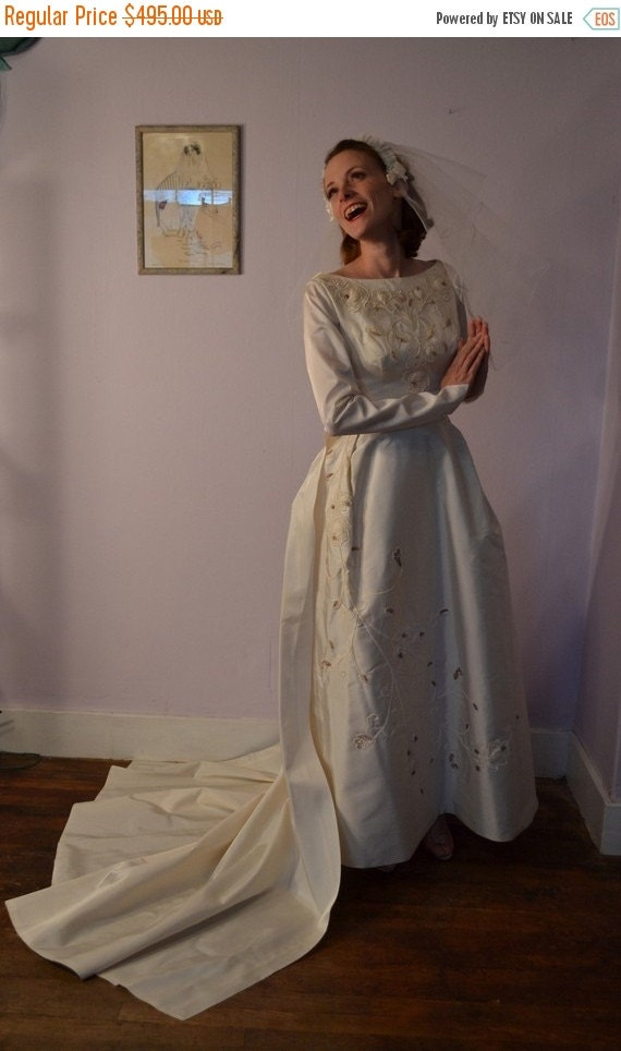 ON SALE Vintage 1960s Beaded Wedding Dress - Silk Chapel Train - Sleeves Bridal Fashions