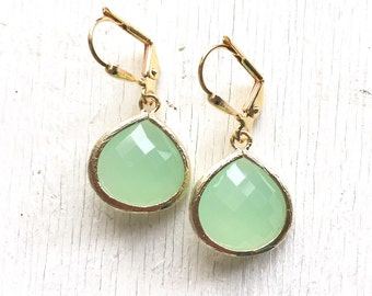 Simplicity Drop Earrings - Mint Faceted Glass Teardrop in Gold. Simple Gold Earrings.  Mint Fashion Earrings. Gift for Her.