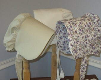 JENNY - Ready to Ship Girls Size 5 to 7  Pioneer Bonnet - Solid Tan or Natural Muslin Prairie Bonnet