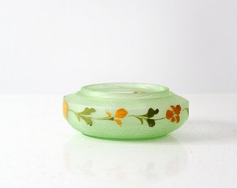 SALE vintage painted frosted glass bowl, green satin glass dish