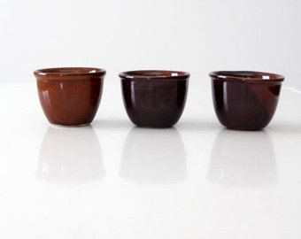 antique stoneware custard cups, set 3 brown ramekins