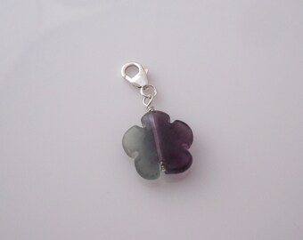 Natural Fluorite gemwtone FLOWER bead sterling silver clip on charm, fits link bracelet
