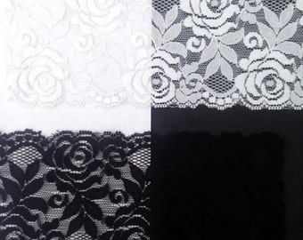 white black royal pink neon coral stretch rose scalloped lace  trim 3.5 to 3.75