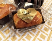 Mini Bake and Serve Loaf Pan Baking Kit - Wedding Baking Favors - 100 each Mini Pans - Medium Cello Bags - Gold or Silver Heart Stickers