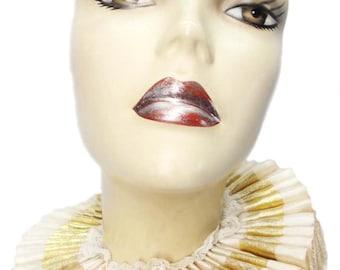 Ruffled Collar Ivory Gold Elizabethan Neck Ruff Victorian Gothic Steampunk Tudor Satin