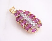 Vintage Marquise Pink Spinel and Diamond Pendant 14k Yellow Gold